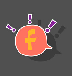 Sticker facebook logotype social network icon vector