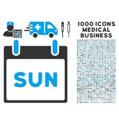 Sunday calendar page icon with 1000 medical vector