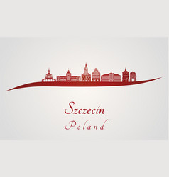 Szczecin skyline in red vector