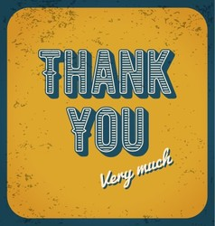 Thank you card typography design vector image vector image