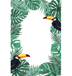 Tropical leaves exotic toucan bird border frame vector