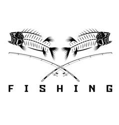 Vintage fishing emblem with skeleton of bass vector