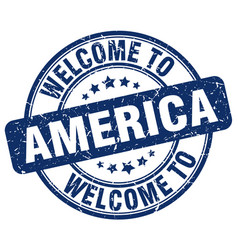 Welcome to america blue round vintage stamp vector