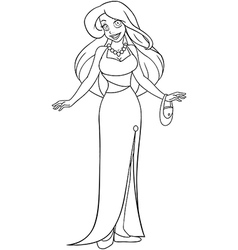 Woman in evening dress coloring page vector