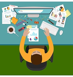 Workplace of a business manager vector image vector image