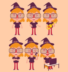 Geek witch set vector