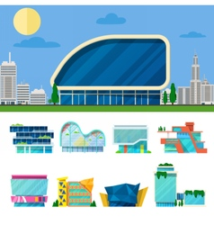 Modern shopping mall buildings architectural set vector