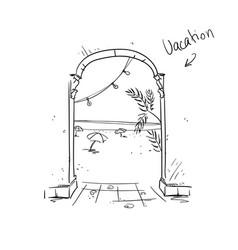 Vacation summer holiday icon sea resort sketch vector
