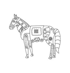 Steam punk horse coloring book vector