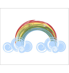 rainbow icon with clouds vector image