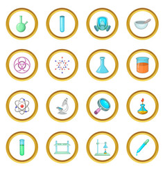 Chemical lab icons circle vector