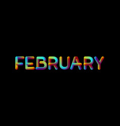 3d iridescent gradient february month sign vector