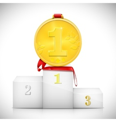Gold medal on pedestal of winners vector