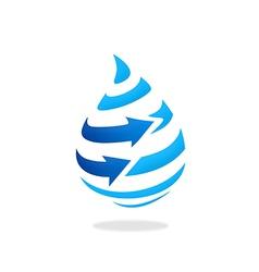 Water drop arrow stripe logo vector