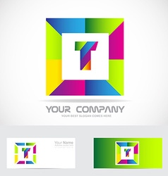 Letter t square logo colors vector