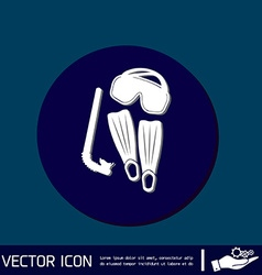 Diving mask fins and snorkel diving symbol sea vector