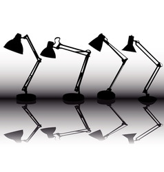 silhouettes of the four table lamps vector image