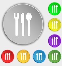 Fork knife spoon icon sign symbol on five flat vector
