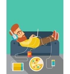 Young man lie on the sofa vector image
