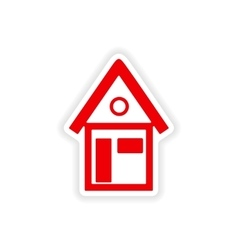 Icon sticker realistic design on paper house vector