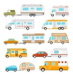 Recreational vehicle icons set vector