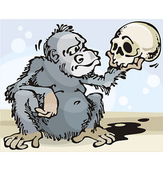 Monkey and skull vector