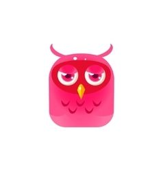 Pink sad owl chick square icon vector