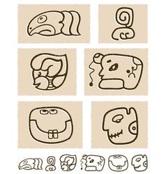 Aztec style comic icon set vector image