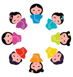 japanese kokeshi dolls vector image