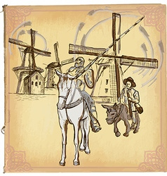 Don quijote quixote - an hand drawn sketch vector