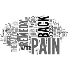 Back pain remedy text word cloud concept vector