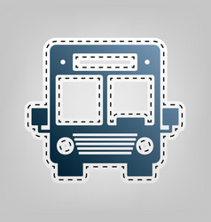 Bus sign blue icon with vector