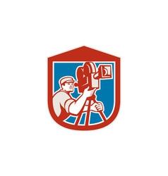 Cameraman Vintage Film Movie Camera Shield Retro vector image vector image