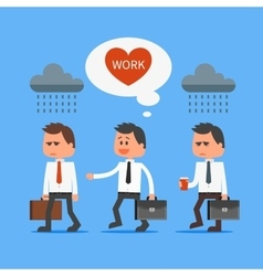 Cartoon office worker loves his work outstanding vector image vector image