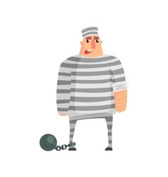 Criminal instripy prison uniform standing in irons vector