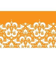 Cute geometrical foxes horizontal border seamless vector image
