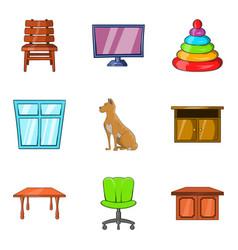Family house icons set cartoon style vector