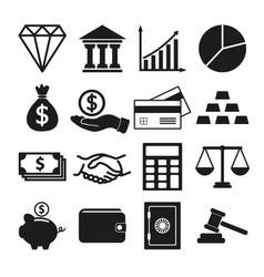 financial investment icons set vector image