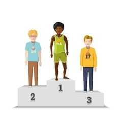 Flat male winnings athletes with medals on white vector image