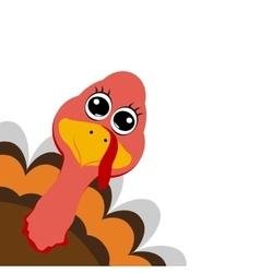 Funny turkey peeking sideways on thanksgiving day vector