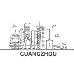 Guangzhou architecture line skyline vector