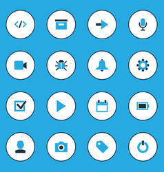 Interface colorful icons set collection of button vector