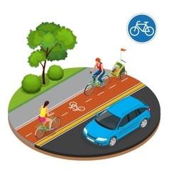 Isometric bicycle road sign and bike riders vector