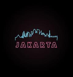 Jakarta skyline neon style vector