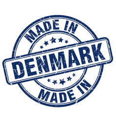 made in denmark blue grunge round stamp vector image vector image