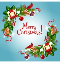 Merry Christmas fir holly bow garlnds card vector image