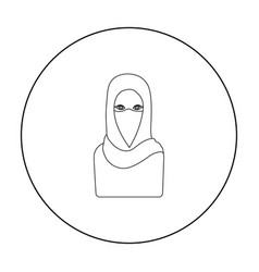 Niqab icon in outline style isolated on white vector