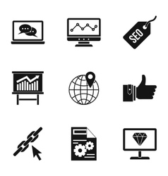 Optimization icons set simple style vector