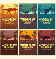 Posters collection world of dinosaurs prehistoric vector