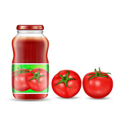 red tomatoes and jars with vector image vector image